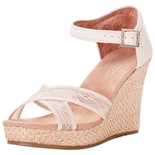 TOMS Crisscross Lace Wedges Style 10005783, Ivory, 11 by David's Bridal