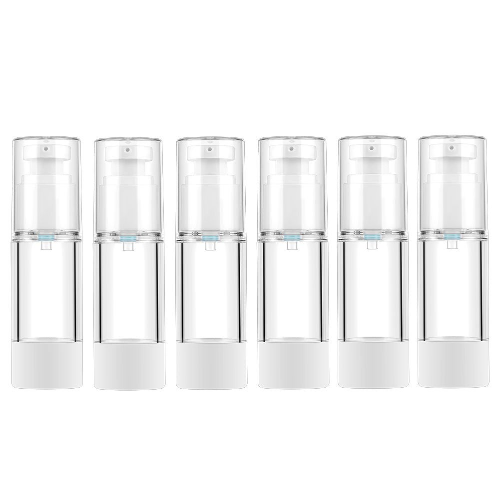 LONGWAY 1 Oz (30ML) Empty Airless Pump Bottles | Travel Lotion Pump Containers/Airless Lotion Dispenser - for Refillable Cosmetic Bottle, Foundation Pump NO BPA (Pack of 6, Clear)