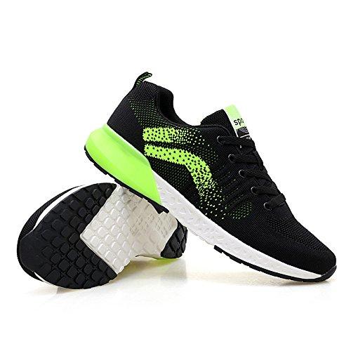 Hombres Negras Zapatillas para 40 Ligeras Green Malla Zapatillas Casual Transpirables de 6PqX48P