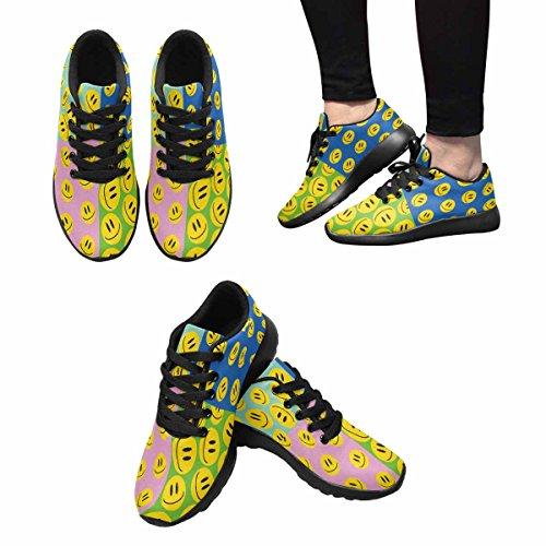 Interestprint Emoji Smiler Ikonsett Womens Jogging Kjører Sneaker Lettvekts Gå Enkle Sko Multi 1