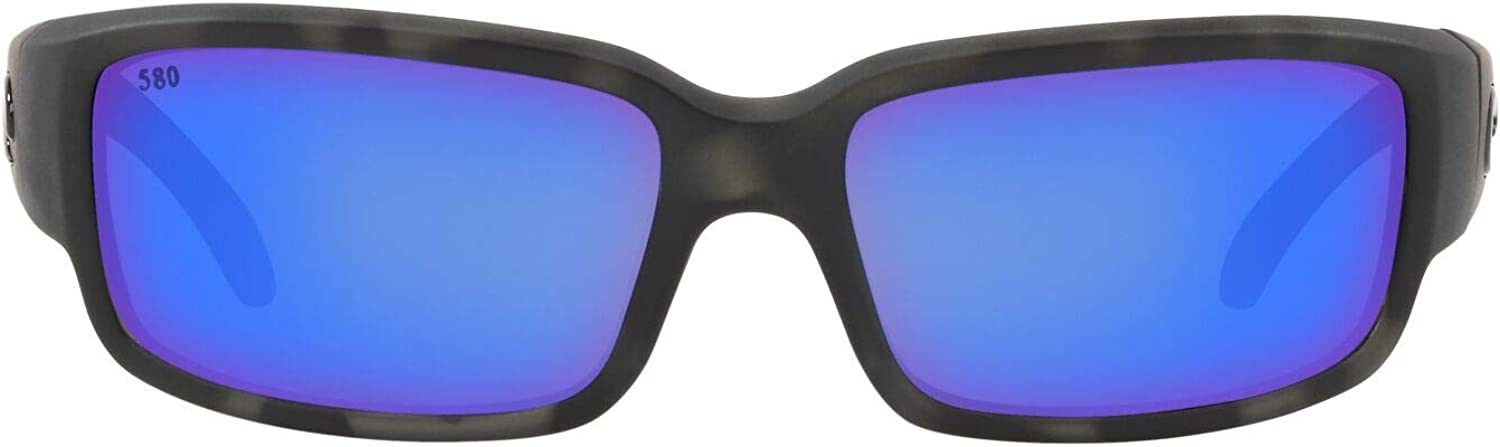 Costa Del Mar Men's Caballito Rectangular Sunglasses, Matte Ocearch Tiger Shark/Grey Blue Mirrored Polarized-580G, 59 mm