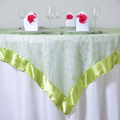 Efavormart Apple Green Organza Square Tablecloth Overlay 72