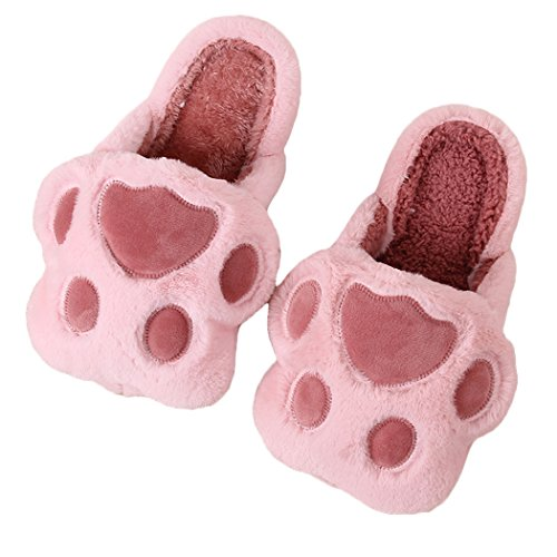 Miyang Winter Cute Cat And Dog Warm House Zapatillas Botines Huella-rosa Y Granate