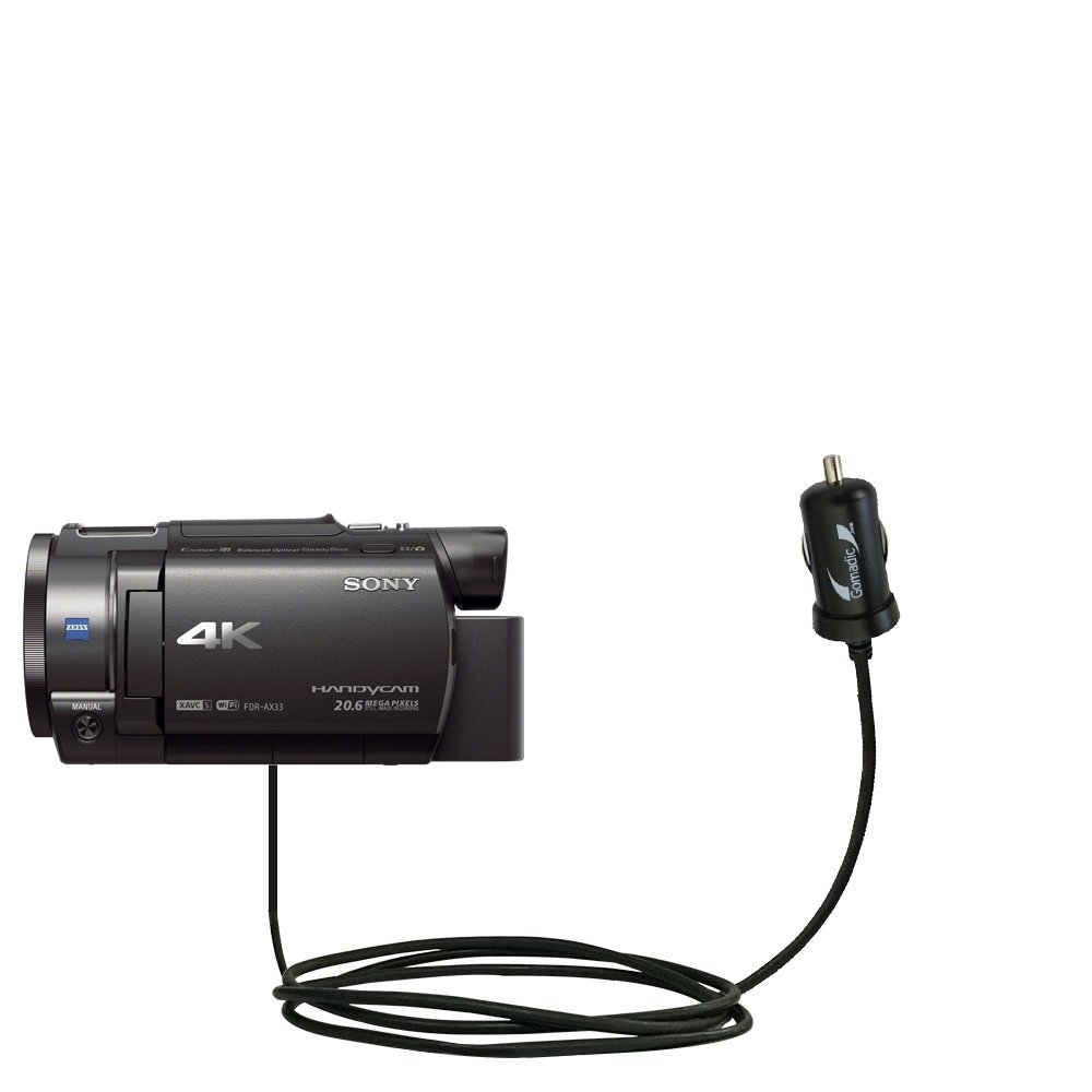 Mini 10W Car / Auto DC Charger designed for the Sony FDR-AX33 / FDR-AX30 with Gomadic Brand Power Sleep technology - Designed to last with TipExchange Technology