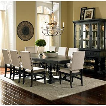 Steve Silver Leona 10 Piece Dining Room Set In Dark Hand Rubbed