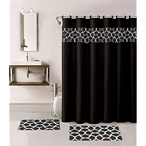 Gorgeous Home 15PC BLACK GEOMETRIC DESIGN BATHROOM BATH MATS SET RUG CARPET SHOWER CURTAIN HOOKS NON SLIP