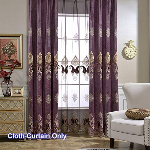 Luxury Chenille Curtain Hollowed Shades Transparent Sheer Jacquard Tulle 1 Piece