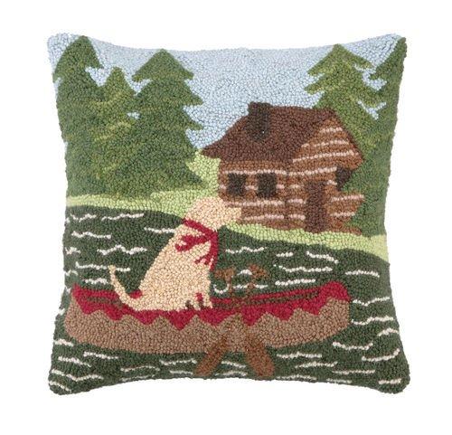 Hook Wool Blend - Canoeing Lab Hook Pillow 16 x 16 by Peking Handikraft