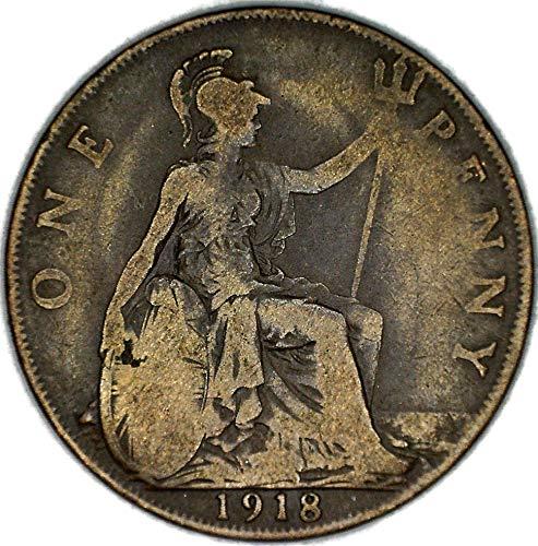 1918 UK UK George V Great Britain British Bronze Penny KM# 810 Penny FAIR
