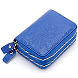 Zando Accordion Style Credit Card Case Holder Genuine Leather Wallet for Women Blue