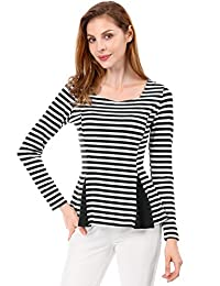 Allegra K Women's Striped Color Block Criss Cross Back Peplum Top