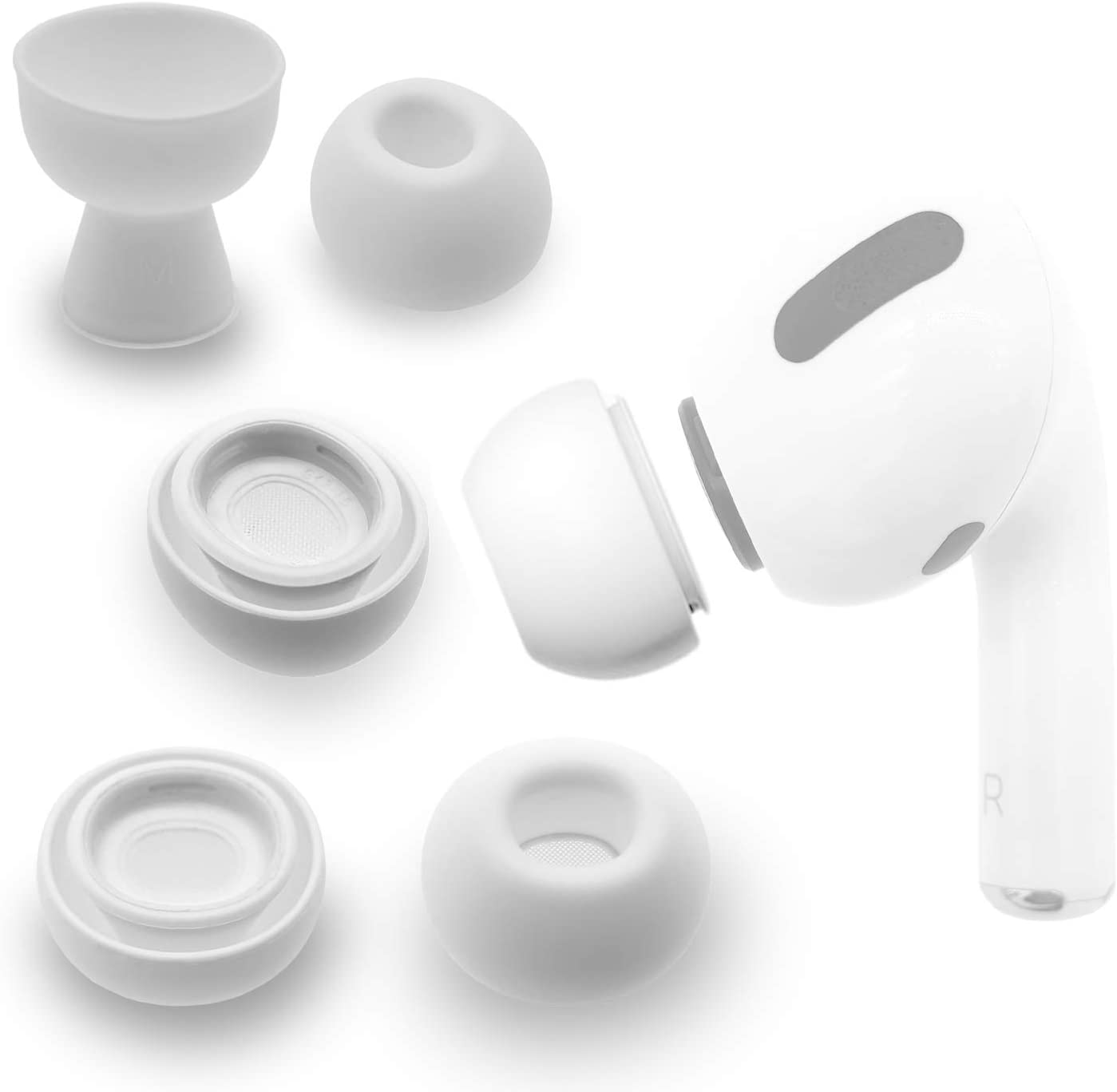 Silicone Replacement Eartips Compatibile with Apple AirPods Pro, [3 Pairs] Replacement Earbuds Tips,Anti-Slip Silicone Soft Cover Earbud Ear Tips Medium,White