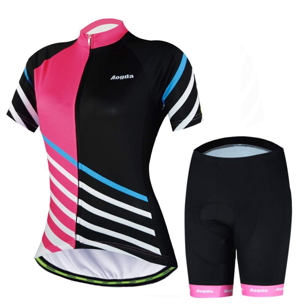 Cycling Jersey Women Aogda Bike Shirts Bicycle Jacket Biking Tights Clothing (Z02, S) by Cycling Jersey Women