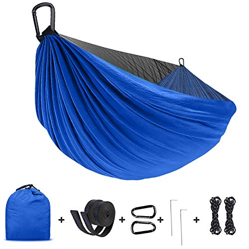 Camping Hammock with Net,Lightweight Portable Parachute Nylon Hammock with Tree Straps,Double Single,Hiking Hammock,Suitable for Indoor, Outdoor, Hiking, Camping, Backyard, Beach, Backpacking