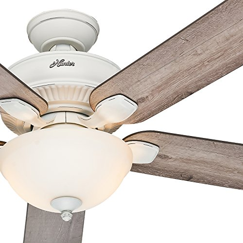 Hunter Fan 52in Indoor Outdoor Cottage White Ceiling Fan with a Bowl Light Kit, 5 Blade Renewed