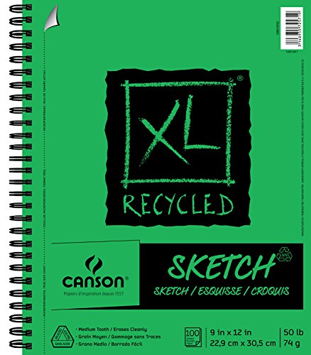 - Canson XL Series Recycled Paper Sketch Pad, Side Wire Bound, 50 Pound, 9 x 12 Inch, 100 Sheets