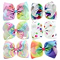YHXX YLEN 6 Pcs 8 Inch Large Colorful Bow Hairpin Girls Bows With Clip Hair Bows