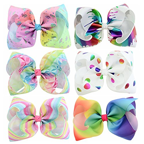 YHXX YLEN 6 Pcs 8 Inch Large Colorful Bow Hairpin Girls Bows With Clip Hair Bows (801) Detail Bow