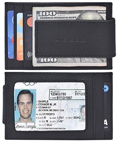 Traversible Genuine Leather Magnetic Front Pocket Money Clip Wallet RFID Blocking (Black Pebble)