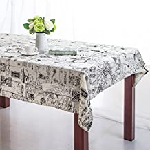 Bringsine Square Cotton Linen World Map Washable Tablecloth Vintage Rectangle Dinner Picnic Table Cloth Home Decoration Assorted Size 36 x 36-Inch