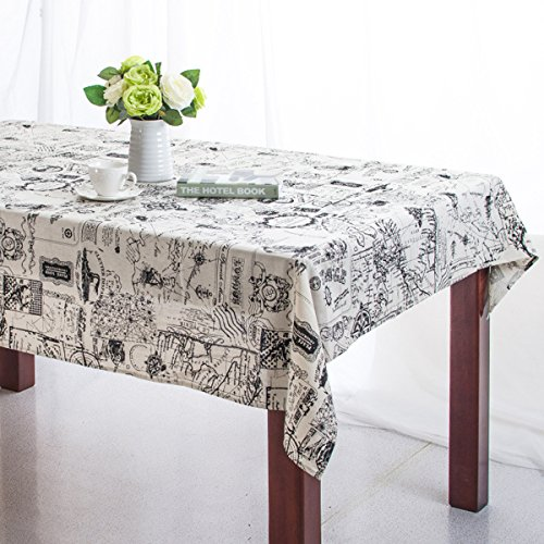 Bringsine Rectangular Cotton Linen World Map Washable Tablecloth Vintage Rectangle Dinner Picnic Table Cloth Home Decoration Assorted Size (Victorian Table Cover)