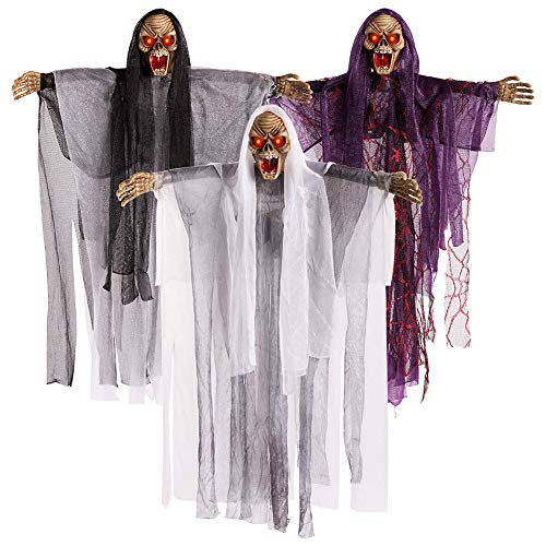 Rely2016 Halloween Decoration Hanging Ghost, Sound & Touch Activated Scary Flying Witch Ghost Horror Devil Wizard Figurine Ornament with Sounds and Flashing Eyes for Halloween Party Decor (3 PCS) -
