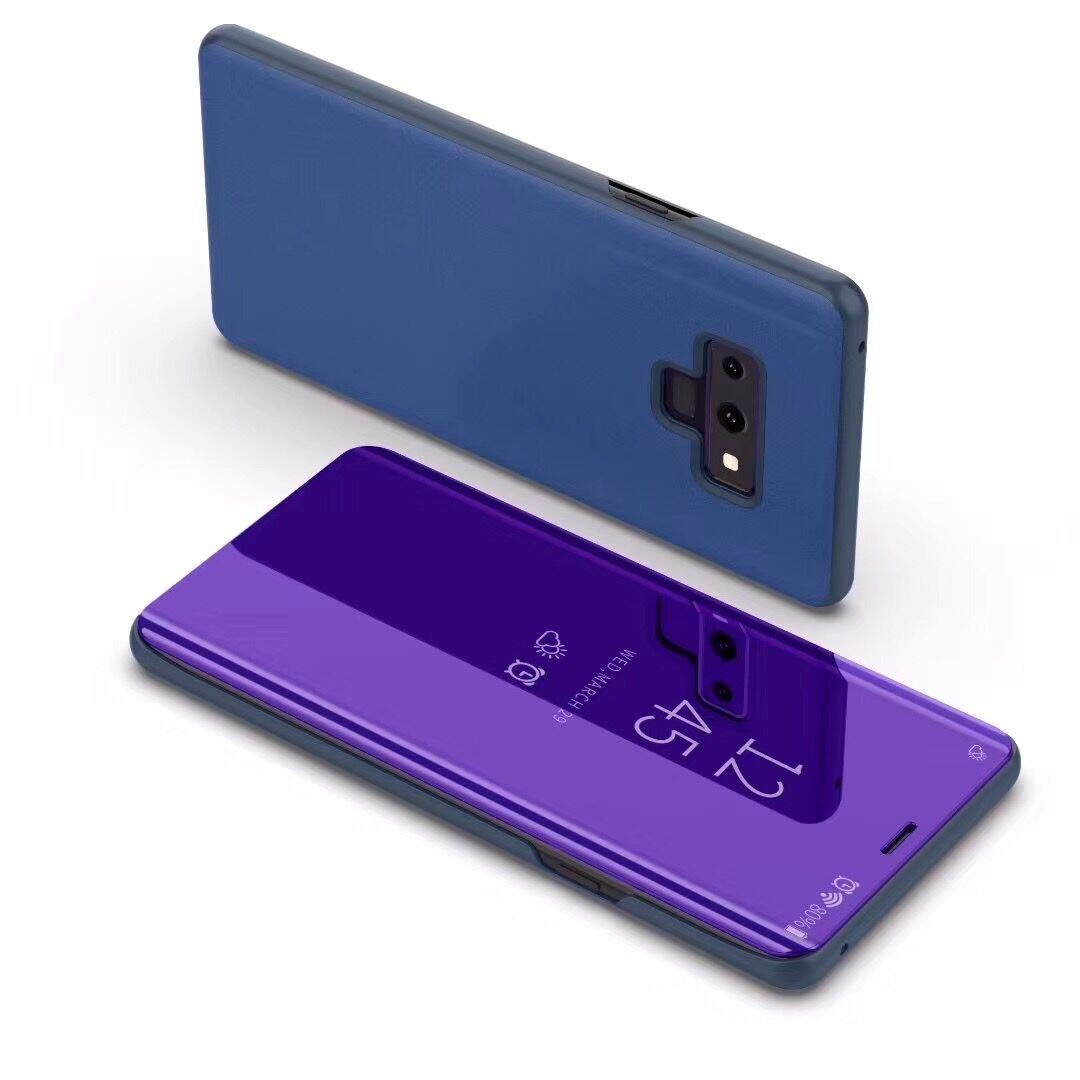 For Galaxy Note 9 Case Metal, For Samsung Note 9 Stand Case, SevenPanda Flip Mirror Luxury Transparent Case Cover Smart Sleep/Wake Function Ultra Thin Book PC Hard Aluminum Cover - Dark Purple Note9-LiShiPiT-LanZi