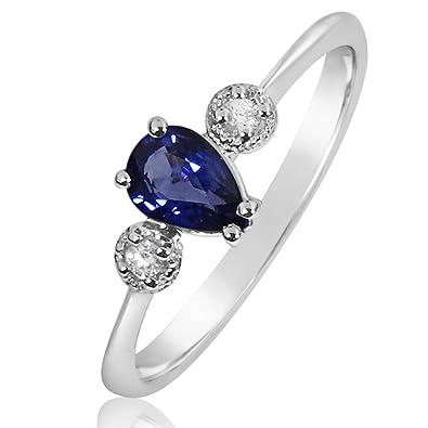 95fedad1633a Anillo Mujer Compromiso Oro y Diamantes - Oro Blanco 9 Quilates 375 ♥  Diamantes 0.03 Quilates - Zafiro Azul 0