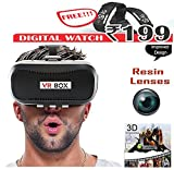 VR BOX 2.0 Virtual Reality Glasses, 2016 Hottest 3D VR Headsets for 4.7~6 Inch Screen Phones iphone 4S, iphone 5s, IPhone 6 / 6 S , Samsung LG Sony HTC, Nexus 6Oneplus Moto etc - Inspired by Google Cardboard with free wrist watch.
