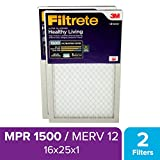 Filtrete 16x25x1 MPR 1500 Pleated AC Furnace Air Filter, Healthy Living Ultra Allergen Reduction, 2-Pack
