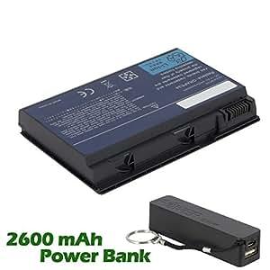Battpit Bateria de repuesto para portátiles Acer TravelMate 7520-502G16Mi (4400mah / 65wh) con 2600mAh Banco de energía / batería externa (negro) para Smartphone