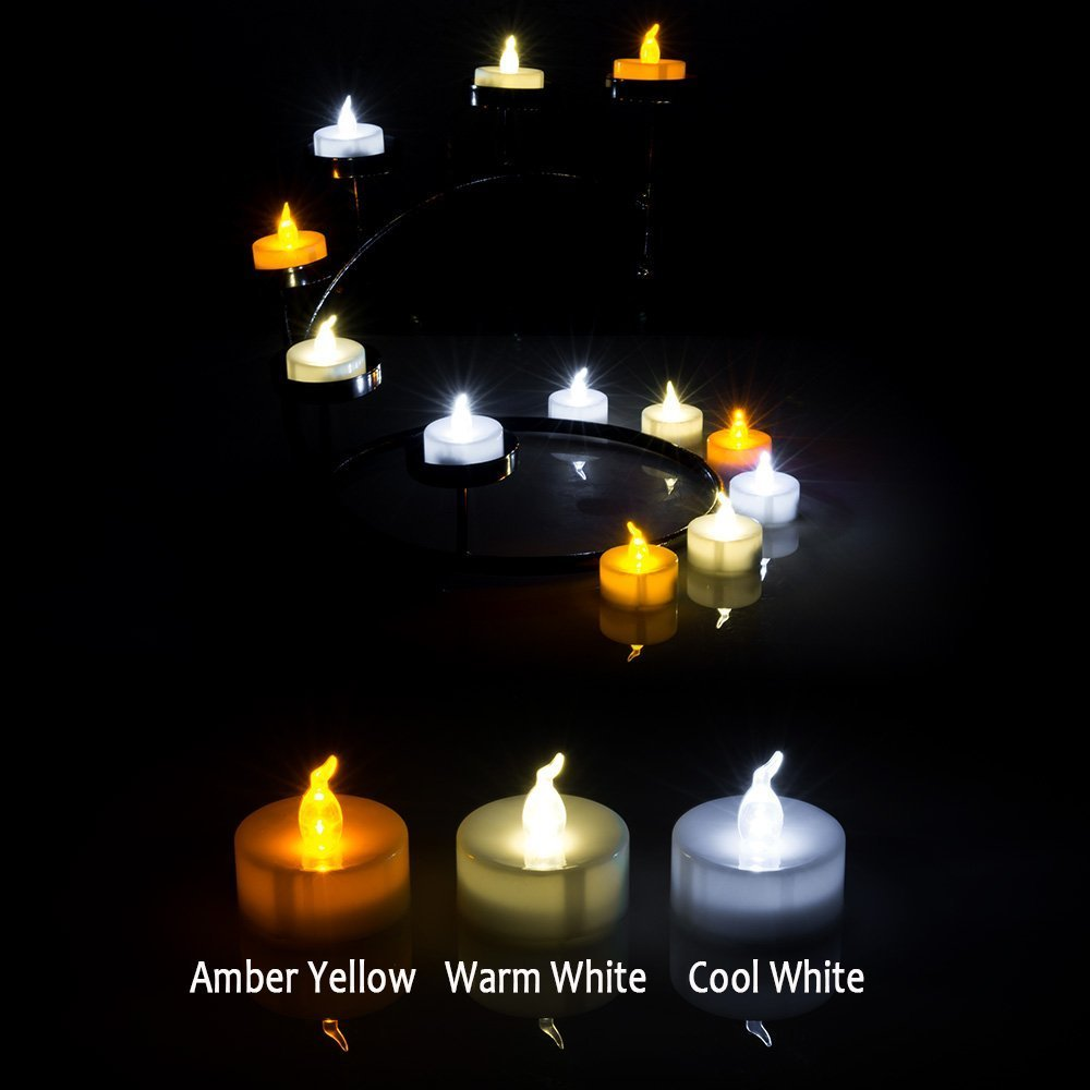100 PCS Flameless Tea Lights, AGPtek Battery Operated No flicker Steady LED Candles for Holidays Party Wedding – White by AGPTEK (Image #7)