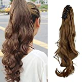 Synthetic Claw Ponytail Heat Resistant Handy Jaw Pony Tail One Piece Long Wavy Curly Soft Silky for Women Lady Girls 18'' / 18 inch (light brown)