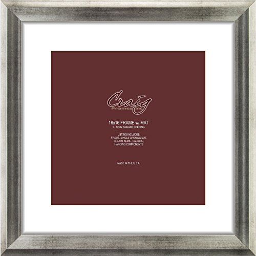 Craig Frames 203313 16 by 16-Inch Antique Silver Picture Frame, Single White Mat with 1-12 by 12-Inch Square ()