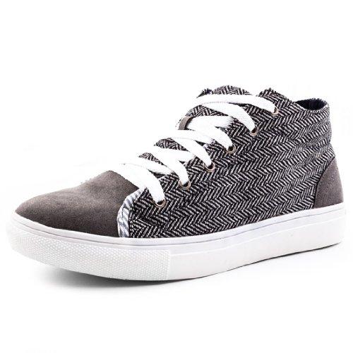 Herren Turnschuhe Sneaker Textil Muster Schwarz