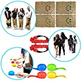 Kids Party Games Combo - Egg and Spoon Race - 3 Legged Race and Burlap Sack Races - Carry bag Included