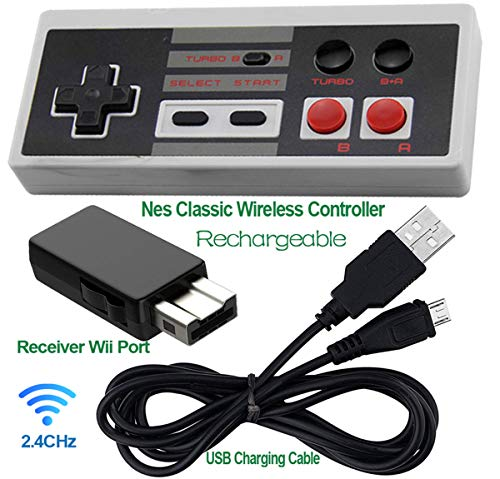 Wii Mini Wireless Controller - Rechargeable NES Classic Mini Wireless Controller -TURBO EDITION-Rapid Buttons Wii Edition for Nes Wii Gaming System with 2.4G Wireless Receiver