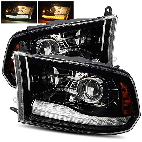 (ModifyStreet Polished Black For 09-18 Ram 1500/10-18 Ram 2500/3500 Dual/Quad Projector Headlights Upgrade Kit )