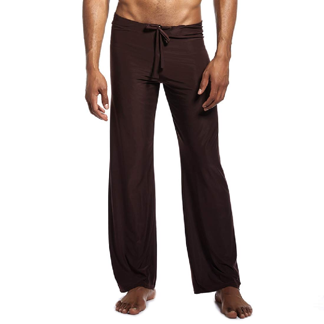 Men Ice Silk Solid Color Plus Size Lounge Pants Yoga Pajama Pants