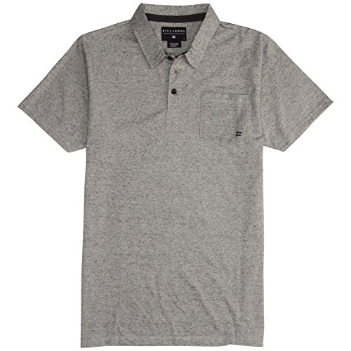 Billabong Men's Standard Issue Short Sleeve Knit Polo Shirt, Grey Heather, Medium