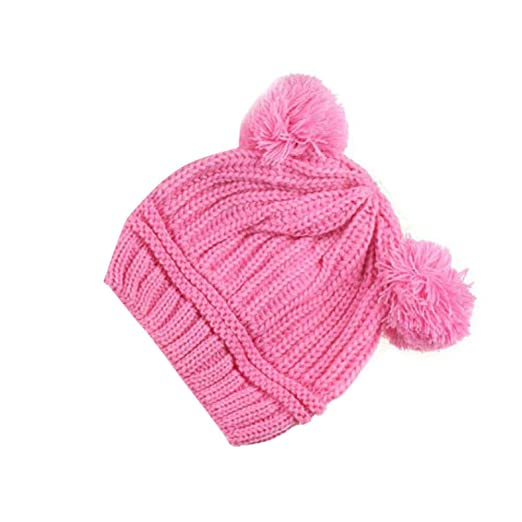 7637f1e7c Amazon.com: Wenjuan Kids Cap Knit Hat Beanie Winter Warm Cotton Headwear  Cute Dual Balls Newborn Infant Toddler Baby Kids (Pink): Clothing