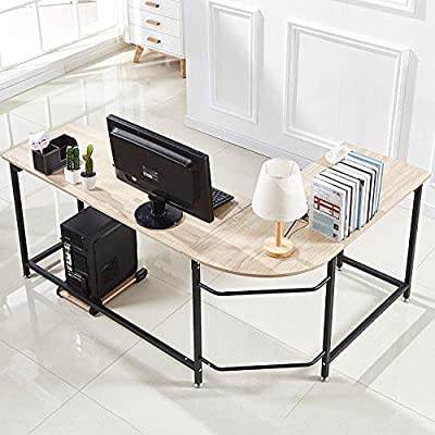 Hago Modern L-Shaped Desk Corner Computer Desk Home Office Study Workstation Wood & Steel PC Laptop Gaming Table