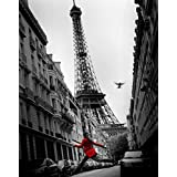 La Veste Rouge Eiffel Tower Paris France European Travel Black White Photograph Poster - 16x20