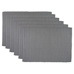 "DII Ribbed Everyday Basic Placemat (Set of 6), 13 x 19"", Gray"