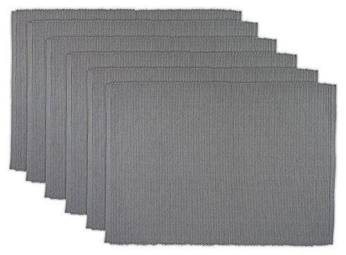 DII 100% Cotton, Ribbed 13x 19 Everyday Basic Placemat Set of 6, Gray, Set ()