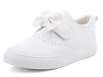 820111f65022 iDuoDuo Girls Cute Bowknot Low Top Sneakers Leather Waterproof Dress Shoes  White 8 M US Toddler
