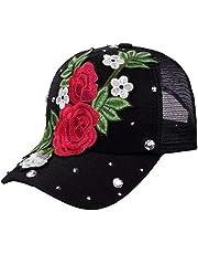 Cuekondy Unisex Rose Baseball Cap Casual Snapback Mesh Caps Adjustable Flower Crystal Rhinestone Sun Visor Hat