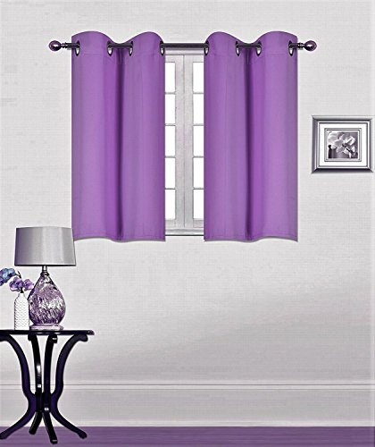 Elegant Home 2 Panels Tiers Grommets Window Treatment Curtain Thermal Heavy Thick Insulated Blackout Drapes Short Panel 30