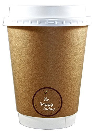(50 Premium Quality 12oz Disposable Paper Coffee Cups with Lids, Insulated Double Wall-No Sleeves Needed-Leak Proof, Eco Friendly,Perfect for Hot & Cold Drinks in)