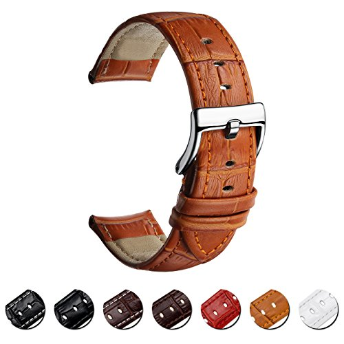 MEGALITH Leather Watch Band Top Calf Grain Genuine Leather Watch Strap 16mm 18mm 20mm 22mm Bands for Men and ()